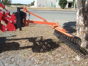 Stick Rake 7ft front end loader mounted euro hitch