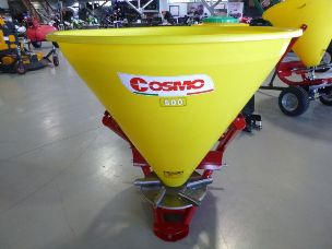 Cosmo PL500 linkage spreader with poly hopper